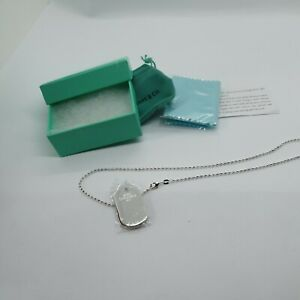 """T&Co zigzag edged dog tag on ball Chain Necklace 17"""" nwt. Boxed 925 stamped"""