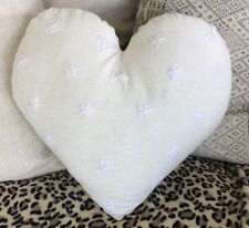 Love Heart Cushion With Embroidered Daisy Flowers Cream Cotton Linen Fabric