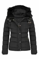 Womens Girls Warm Jacket Fur Outerwear Hood Winter Padded Coat Sizes UK 8-16