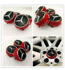 MERCEDES AMG RED WHEEL CENTRE CAPS 75MM FITS A B C E SLK CLASS C63 C43 E63 A45