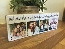 "11x4"" Personalised Wooden Family Photo & Text Block Best Friend Baby Gift"