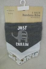 Modern Baby Boy 3-Pack Bandana Bibs Reversible Grey Elephant New
