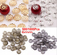 1000Pcs Metal Filigree Flower Bead Caps Cover For DIY Jewelry Silver Gold Black