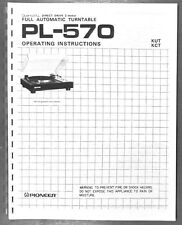 Pioneer PL-570 Turntable Owners Manual