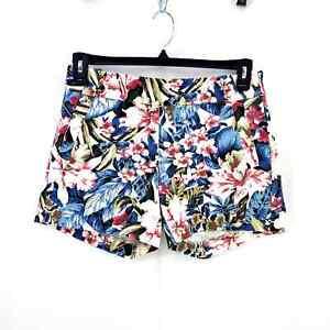 J Crew Floral Hawaiian Tropical Stretch Shirts Sz. 4 Cotton/Spandex