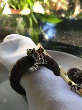Napkin ring set 6 Serviette holder dinner table decor beaded handmade frogs
