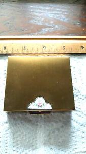Vintage Guilloche cloisonne Enamel gold Compact velvet lined pill keepsake box