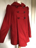 French Connection Size 6 Red Ruffle Wool Blend Long Sleeve Button Coat Jacket