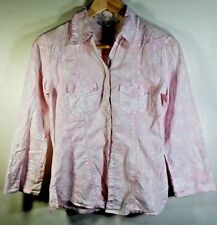 Laura Ashley cotton blouse Size 8 pink & white fitted with roll tab sleeves