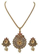 Jwellmart India Bollywood Gold Tone Faux Pearl CZ Fashion Pendant Set JMP355