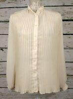 Vintage St Michael Cream Pleated Chiffon High Collar Blouse Top Size 10