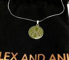 """ALEX AND ANI """"PATH OF LIFE - AVOCADO"""" EXPANDABLE NECKLACE IN SHINY SILVER! NWT!"""