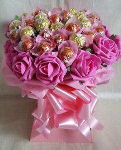 Pink Ferrero Rocher & Lindt Lindor Chocolate Bouquet - Sweet Gift hamper