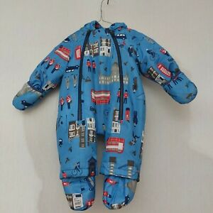 Joules 3-6 Months Snowsuit Boys Girls London Print Bus Blue hooded