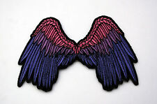 SMALL BEAUTIFUL ANGEL WINGS PATCH PINK IRON ON HAT PIN UP AMERICA USA