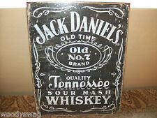 Jack Daniels Whiskey New Tin Metal Sign Woodcut Logo 12 inch by 16 inch