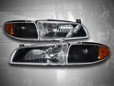 1997-2003 Pontiac Grand Prix Headlights Crystal Black + Amber Corner Signal Lamp