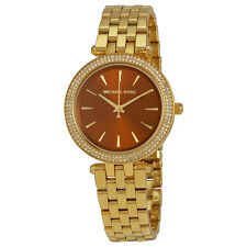 MICHAEL KORS DARCI GOLD TONE,GLITZ CRYSTALS BROWN DIAL S/S BRACELET WATCH MK3408