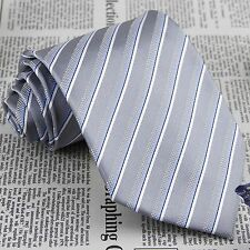 Men's Light Grey Stripes Tie 100% Silk Jacquard Woven Formal Party Necktie JP153