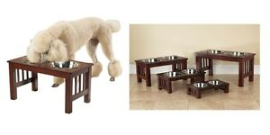 Raised Dog Diners With Dishes & Cherry Wood Finish - Deluxe High Quality Healthy