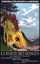 Affiche chemin de fer Alsace Lorraine - Route des Vosges