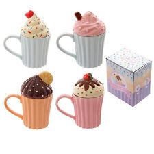 Puckator Fun Ceramic Cute Cupcake Mug with Lid - 4 Designs, Gift Boxed