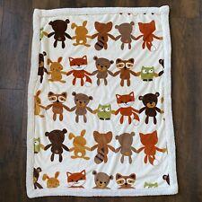 Lambs And Ivy White Fall Animal Fleece Plush Baby Blanket Owl Fox Bear
