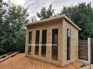 CONTEMPORARY CABIN SUMMER HOUSE GARDEN OFFICE HEAVY DUTY TANALISED SHED