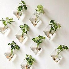 New Mkono 2 Pack Wall Hanging Plant Terrarium Glass Planter, Diamond