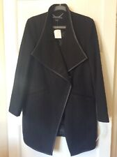 French Conection Size M 12 14 Black Coat Wool Blend Woven Chevron NEW
