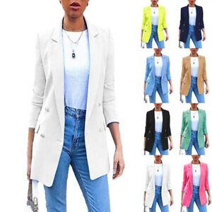 Plus Size Women Long Sleeve Longline Blazer Suit Ladies Coat Formal Jacket Suits