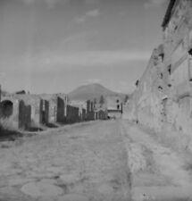 """Q338 Original 1953 Oct. Rollei photo NEGATIVE 2 1/4"""" Italy Pompei Mt. Vesuvius?"""