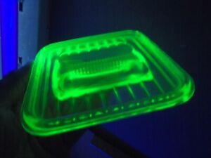 VINTAGE AUSTRALIAN GREEN URAMIUM DEPRESSION GLASS FRIDGE BOX LID c1930
