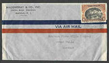 DATED 1940 COVER MANILA PHILIPPINES TO MONTANA W/#393 1 PESO AIRMAIL
