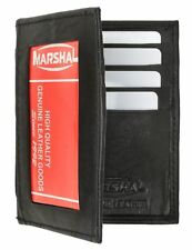 Black Leather Men's Bifold Wallet ID Window Credit Card Holder Zip Front Pocket