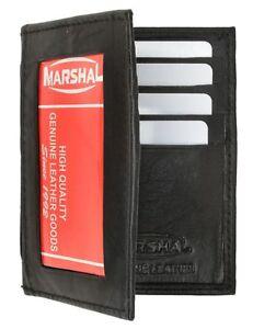 Black Leather Men's Bifold Wallet ID Badge Credit Card Holder Zip***