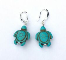 Blue Turquoise Howlite Turtle Beads Earrings Sterling Silver Hook