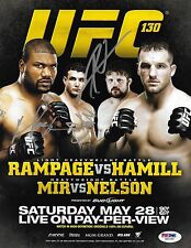 Frank Mir & Rampage Jackson Roy Nelson Signed UFC 130 8.5x11 Poster PSA/DNA COA