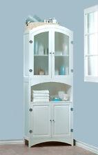 NEW! WHITE WOOD LINEN CABINET-BATHROOM STORAGE HOME DECOR FURNITURE-Retail $350