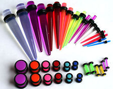 16g-00g Neon Color Ear Stretching Gauging Kit Plugs Tapers Instructions expander