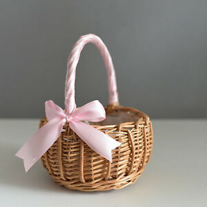 Bridesmaid Wedding Flower Girl Natural Lined Wicker Flower Candy Basket Gift