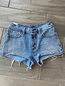 "Levis Womens 501 Button Fly Raw Hem Ripped High Rise Denim Jean Shorts W 27"""