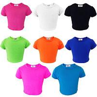 Girls Plain Crop Top Kids Short sleeve Summer Tops & T-Shirts New Age 7-13 Years