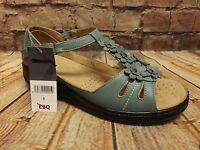 Ladies Blue Enclosed Heel T Bar Low Wedge Touch Fastening Sandals Size 6