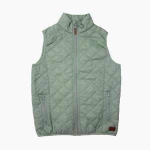Blend Mens Lightweight Nylon Diamond Stitch Full Zip Gilet Vest S Small Green