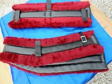 Horse or Mule Fleece Harness Saddle & Breast Collar Pads Set Amish Made BURGUNDY