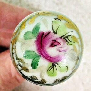 1 Vintage Drawer Pull Knob Hand Painted Pink Rose Porcelain w Gold on Light Blue