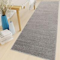 Dark Grey Stair Carpet Runner TAPISO Long Hallway Rug Plain Pattern Soft Rugs