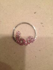 """(new) Script """"love"""" with Pink Crystals Origami Owl Living Locket Plates Large"""