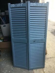 "PaiR c1900 fixed louvered window house shutters central CT 58"" x 15.5"" x 1 1/8"""